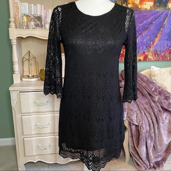 SOLD Macrame Lace Little Black Dress - Boho